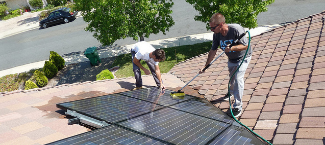 How do you clean solar panels?